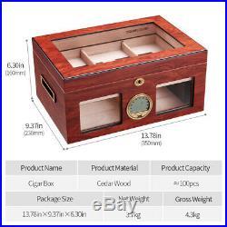 Red CIGARLOONG Cigar Cedar Wood Box Humidor Cabinet Large Capacity Fit 100 cigar