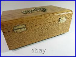 Refinished & Repurposed 1890s Oak Cigar Humidor Box Lined with Green Felt + Key
