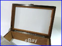 Refinished & Restored Antique Cigar Humidor With Humidity PadMilk Glass Liner
