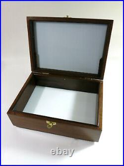 Refinished & Restored Solid Walnut Antique Cigar HumidorMilk Glass Liner
