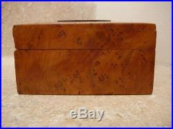 S20 Vintage Tobacco Cigar Cigarette Burl Wood Souvenir Box Chest Caddy Humidor