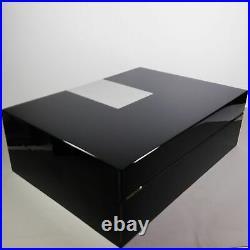 S. T. Dupont Large Black Laque de Chine/Silver Palladium Trim Cigar Box Humidor