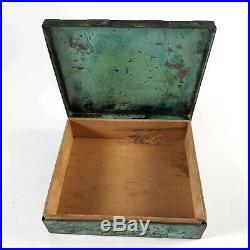 Silver Copper Cigar Cigarette Humidor Box Handmade in Peru