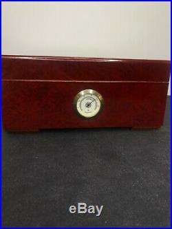 Solid Wood Cigar Box Burl Wood Finish Humidor With Hygrometer