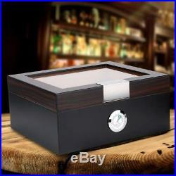 Spanish Cedar Wood Cigar Humidor With Humidifier Hygrometer Cigar Box Black