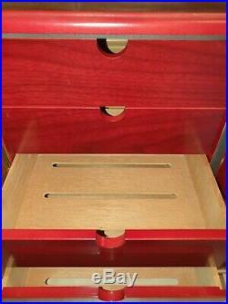 Spanish Cedar Wooden Desktop Cigar Humidor Box with Humidifier Hygrometer