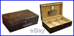 The Randolph Cigar Humidor Ebony 130 Count Ceder Lined Box with Accessories