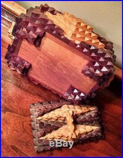 Tramp Art Wooden Box Antique Chip Carved Folk Art Tea Caddy Cigars or Cigarettes