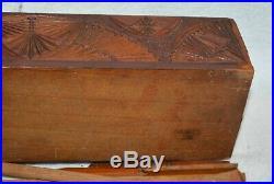 Turkish Wood Box Vintage PRISONER OF WAR 1919 ottoman empire hinged carved