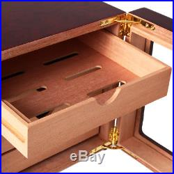 US Wood Cedar Cigar Humidor Case Box Cabinet Cigarette Hygrometer Humidifier Hot