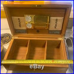 VTG Large Cigar DUNHILL HUMIDOR Box Made In France Lock And Key hygrometer Brass