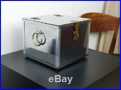 VTG Mid Century Retro Stainless Steel Lock Box Style Tobacco Humidor Stash Safe
