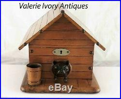 Victorian Dog in Kennel Figural Wood Cigar Humidor Box