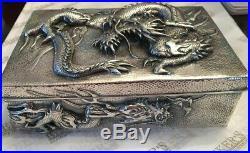 Victorian Sterling Silver Arthur & Bond Yokohama Dragon Motif Cigar Humidor Box