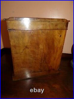 Victorian walnut treen apprentice piece 3 drawer table cabinet cigar humidor