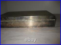 Vinatge Dunhill Sterling Silver wood porcelain lined cigar cigarette box Humidor