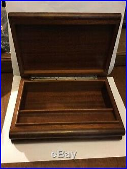 Vintage Art Art Deco Cigarbox Humidor In Burled Wood With Sterling Silver Accent