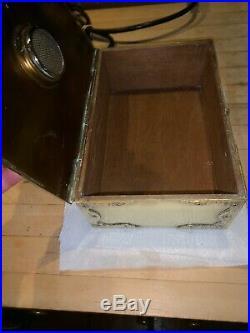 Vintage Bradley & Hubbard Brass Humidor Cigar Box Chest B&h With Rare Lock & Key