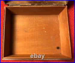 Vintage Brass Copper Oriental Repousse Cigarillo Humidor Market Cigarette Cigar