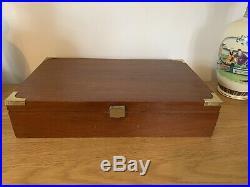 Vintage Cigar Humidor Case Box Presentation Campaign Brass Handles Brass Bound
