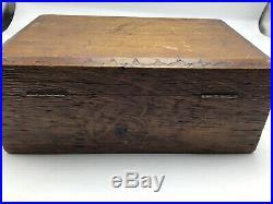 Vintage Cigar Humidor Wood Box Tin Lined Lock No Key Primitive Etched Design