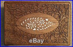 Vintage Engraved Cigar Box Large Holder Humidifier Humidity Humidor Wood Lined