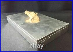Vintage French Hermes Gold Silver Plated Horse Head Equestrian Cigar Box Humidor