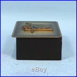 Vintage German Wood & Brass Humidor Cigar BOX Hunt Target Gun Oak Leaves Relief