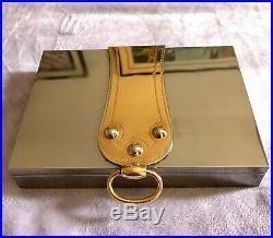 Vintage Hermes Silver Gold Humidor Cigar Box 50s