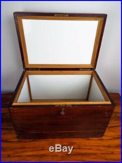Vintage Large 1930s Wooden Mahogany Humidor Milk Glass Lined Wood Cigar Box