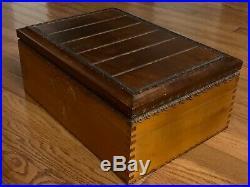 Vintage Large Wood Cigar Intricate Design Wood interior Humidor Cigar Box