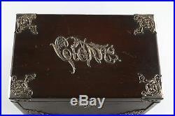 Vintage Legno Cigar Box Humidor With Metallo Liner & Antico Piatto D'Argento