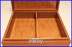 Vintage Luxury Rare Wooden And Leather Cigar Box Humidor With Silver 800 Emblem