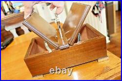 Vintage Mechanical Handle Cigar Box Wooden Mahogany Cedar Wood cabinet Humidor