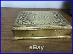 Vintage Metal Cigar Box Humidor Sponges Inside RARE