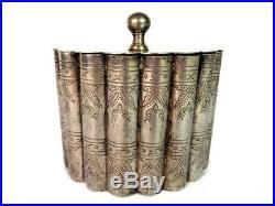 Vintage Metal Cigar Box, Silver Plated Tabacco Humidor, Round Cigar Holder