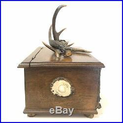 Vintage Oak Wood & Antler Tobacco Box Humidor Father's Day Cabin Lodge Decor