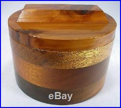 Vintage Round Hand Made Exotic Wood Jewelry Pipe Tobacco Humidor Dresser Box