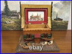 Vintage SWISS Black Forest Chalet CIGAR HUMIDOR Cottage House BOX Hand Carved