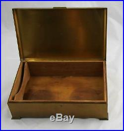 Vintage Silver Crest Bronze Cigar Humidor Box with Hunting Dog 11 by 6.5