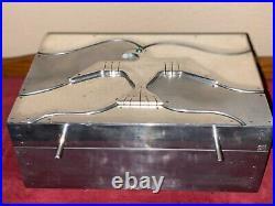 Vintage Silver Gentlemans Smoking Native American Style Cigar Box Humidor