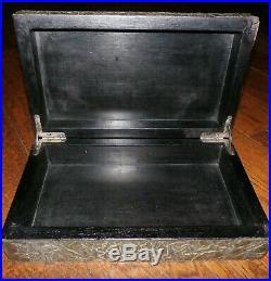 Vintage Silver Metal Repousse Brutalist Tobacco Cigar Humidor Jewelry Vanity Box
