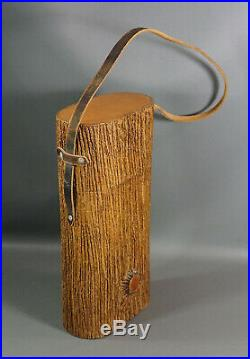 Vintage TRONQUITO Tree Trunk Double Cigar Travel Humidor Box Tobacco Jar w Strap