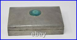 Vintage Tudric Made In England Pewter Enamel Cigar Wood Lined Tobacco Box Humido