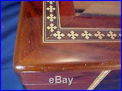 Vintage Wood Humidor Box Inlaid Wood Locking Beveled Glass Lid Hygrometer