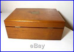 Vintage handmade carved walnut wooden brass cigar humidor box lined