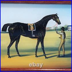 Vtg German HUMIDOR CIGAR TRINKET BOX Glass Eglomise Equestrian Horse Rider