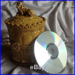 Wien Austria Lion Antique 19. C Pipe Majolica Humidor Tobacco Jar Box Barell Gold
