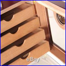 Wood Cedar 100+ Cigar Humidor Box Cabinet Cigarette Hygrometer Humidifier Case