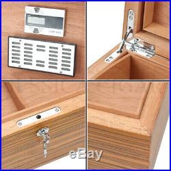 Zebra Grain Big Capacity Cedar Cigar Humidor Box Hygrometer Hygrometer 150 Count